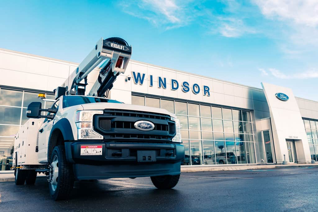 Commercial Truck In Front Of Windsor Ford