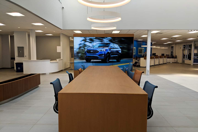 Community table Inside Ford Dealership